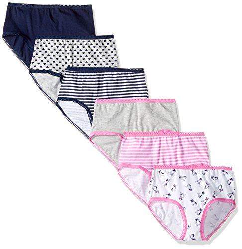 Cherokee Little Girls' 6 Pack Brief, Navy/Lt Heather Grey Asst Pack, 6 - Girls Basic Panty