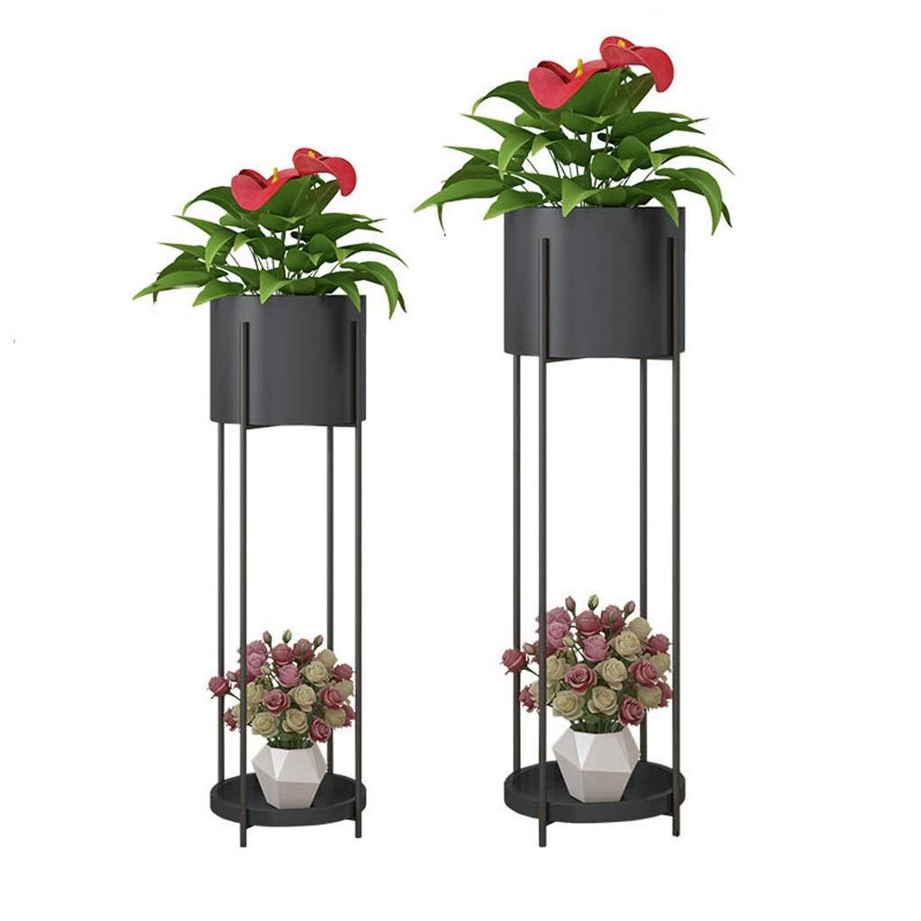 CGF-Scaffali porta piante Flower Shelf Iron Storage Rack Espositore Pianta Stand Scala Balcone Camera da Letto Office Terrace 2 Dimensioni griglia 20x72   23x85 Cm (LxH) Nero