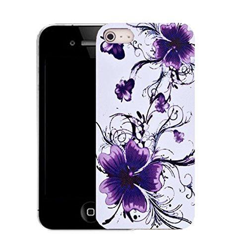 Mobile Case Mate IPhone 5 clip on Silicone Coque couverture case cover Pare-chocs + STYLET - purple floral bliss pattern (SILICON)