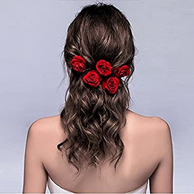 ClassicBeauty Elegant Red Rose Bridal Hair Clips (Set of 4) New 2017 Wedding Women and Girls Hair Accessories Bridesmaids Headpiece
