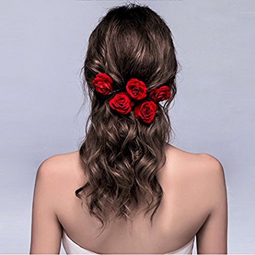 New Rose Hair Dye (ClassicBeauty Elegant Red Rose Bridal Hair Clips (Set of 4) New 2018 Wedding Women and Girls Hair Accessories Bridesmaids Headpiece)