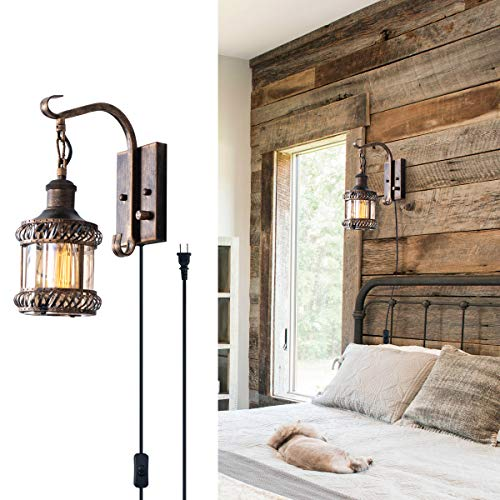 Retro Wall Light Fixtures, 2-in-1 Oil Rubbed Bronze Vintage Wall Lighting Hardwired Plug in Industrial Lantern Retro Lamp Metal Wall Sconce for Bedside Bedroom Home Dining Room(1 Pack)