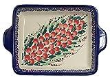 Traditional Polish Pottery, Lasagna Rectangular Casserole Baking Dish with Handles 22cm, Boleslawiec Style Pattern, O.401.Cranberry