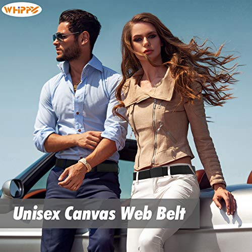 Canvas Web Belt Flip-Top Solid Black Military Buckle Mens Webbing Belts Cut To Fit 2 Pack Black+Coffee M