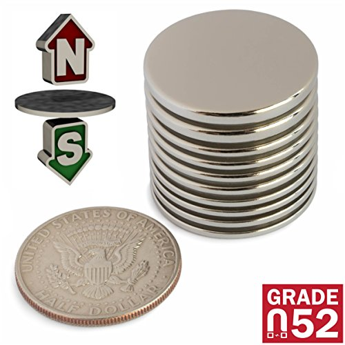 Powerful Neodymium Disk Magnets - Mixed Pack of 10 Rare Earth Magnets - Permanent N52 Round Magnets for DIY, Fridge, Hanging - 1.26''Dx0.06''/0.08''/1/8'' by ZOPRIMA (Image #2)