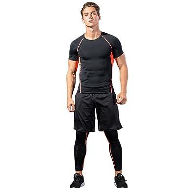 7934547b14a EXLURA コンプレッションウェア 3点セット メンズ 半袖 トレーニング スポーツウェア ハーフパンツ タイツ (M