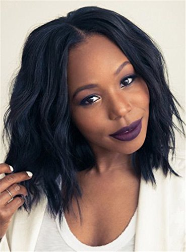 Search : Colorwigy12 Inches Curly Black Wig African American Wigs Slight Wave Synthetic Capless Center Parting Hairstyle for Party Cosplay Daily Use
