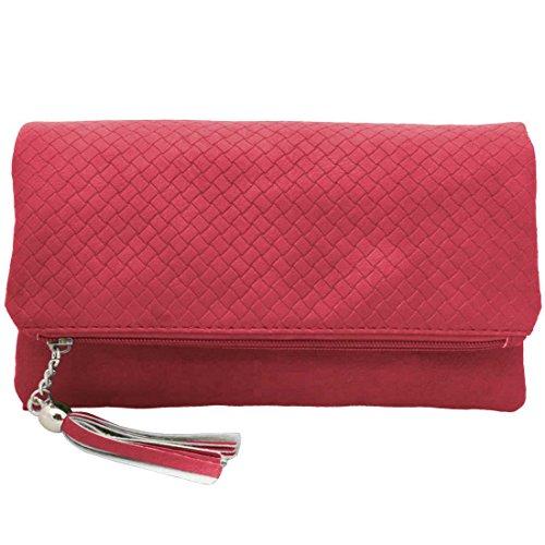 Camera Colore Da Pu Cerniera Donna rosa Rosa Pelle In Bmc Borsa Fashion Scomparto Frizione A4Xw8qwd