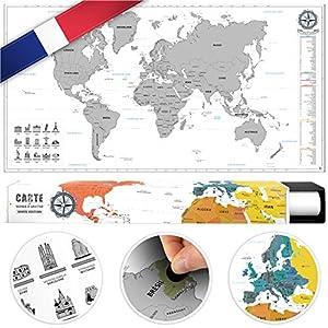 #benehacks Mapa del Mundo en Galo Tipo póster para rascar SIGA Sus Aventuras de Viaje en un Mapa detallado del Mundo – Mapamundi Plata/Blanco – 84 x 44 cm