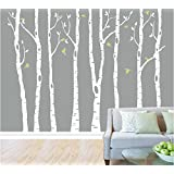 Set of 8 Birch Tree Wall Decal Nursery Big White Tree Wall Deacl Vinyl Tree  Wall