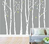 white tree decals - designyours Set of 8 Birch Tree Wall Decal Nursery Big White Tree Wall Deacl Vinyl Tree Wall Decals for Kids Rooms with Fliying Birds Wall Art Decor