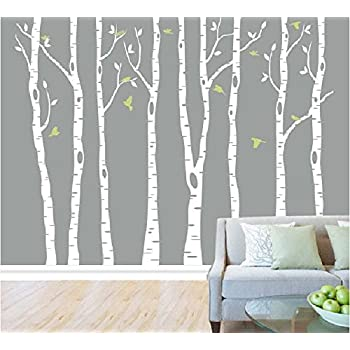 Elegant Set Of 8 White Birch Tree Wall Decal Nursery Tree Wall Stickers Tree Wall  Decals For