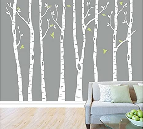 Superb Set Of 8 White Birch Tree Wall Decal Nursery Tree Wall Stickers Tree Wall  Decals For