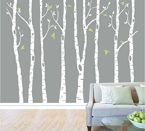 Set of 8 Birch Tree Wall Decal Nursery Big White Tree Wall Deacl Vinyl Tree Wall Decals for Kids Rooms with Fliying birds Wall Art Decor