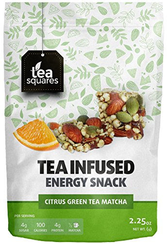 Caffeinated Energy Bites - Citrus Green Tea Matcha (Pack of 3) - Infused with Tea - Gluten Free - Vegan - Energy Snack - Protein Snack - Protein Bar - Tea Squares