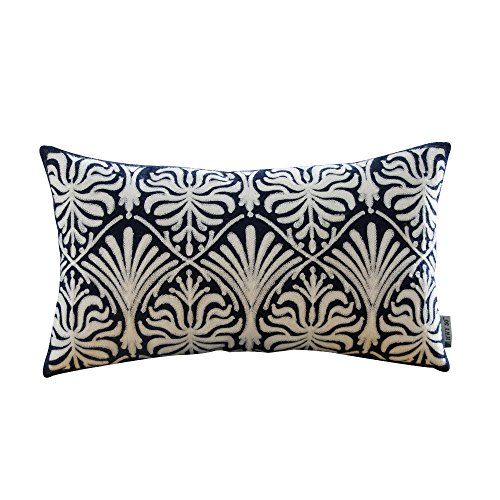 HWY 50 Cotton Embroidered Decorative Rectangle Throw Pillow Covers Cushion Cases for Couch Sofa Bed Bedroom Blue European Simple Geometric Floral Accent Lumbar Pillowcases 12 x 20 inch, 1 Piece