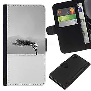 KingStore / Leather Etui en cuir / Sony Xperia Z2 D6502 / Negro Blanco Árbol del viento Limpio