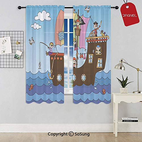 Kids Pirate Ship with Funny Children Adventure Ocean Journey Waves Birds Clouds Decorative Rod Pocket Sheer Voile Window Curtain Panels for Kids Room,Kitchen,Living Room & Bedroom,2 Panels,Each 42x63