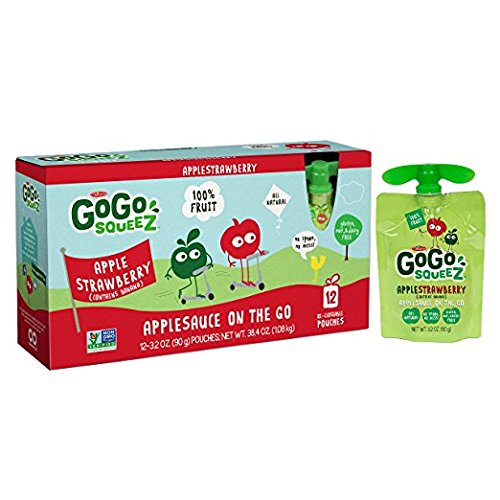 GoGo squeeZ Applesauce on the Go, Apple Strawberry, 3.2 Ounce Portable BPA-Free Pouches, Gluten-Free, 12 Total Pouches by GoGo SqueeZ