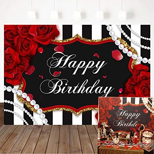 Amazon Com Avezano Red Roses Birthday Backdrop Floral Pearl Striped Party Decorations Black White Stripe Woman Banner Photography Background 5x3ft Camera Photo