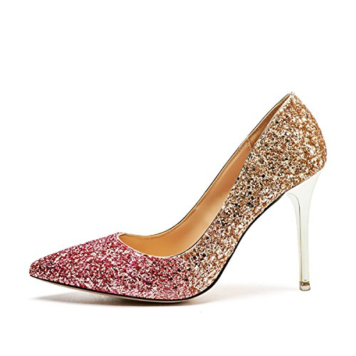 Schuhe Pailletten Sexy Smart Heels High Pumps Abend Hochzeit Spitz Damen Frauen Komfortable 1qX4wa8axB