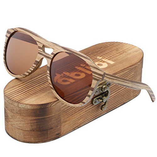 Ablibi Aviator Wood Polarized Sunglasses Men Classic Glasses lentes de sol para hombre in Wood Box (Zebrawood, - Lentes De Hombre Sol