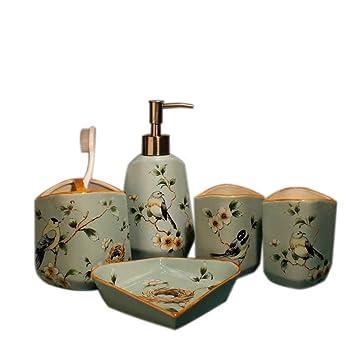 SUOVK Portacepillos Set De Baño De Cerámica Accesorios De Baño 5 Unids/Porta Cepillo De Dientes De Cerámica Jabonera Productos De Baño: Amazon.es: Hogar