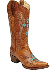 Circle G Womens Retro Wing and Cross Embroidered Cowgirl Boot Snip Toe - L5104