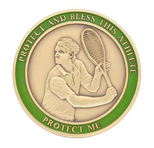 - (4 7/18) TENNIS Medal Saint Sebastian Brass SEBANO Sports Good Luck Coin 1.7