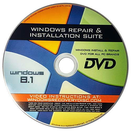 Windows 8.1 Pro Enterprise Standard 32/64-bit Reinstallation Re install Recovery Restore Fix Boot Disk Disc CD - For All Make/Model PCs including HP, Lenovo, Dell, Toshiba, Sony, Asus, - Restore Disk Ibm