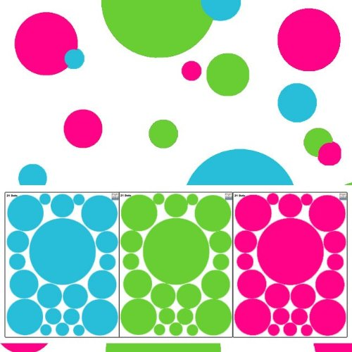 Create-A-Mural : Wall Dots Decals- Tropical Colored Polka Dot Wall Stickers