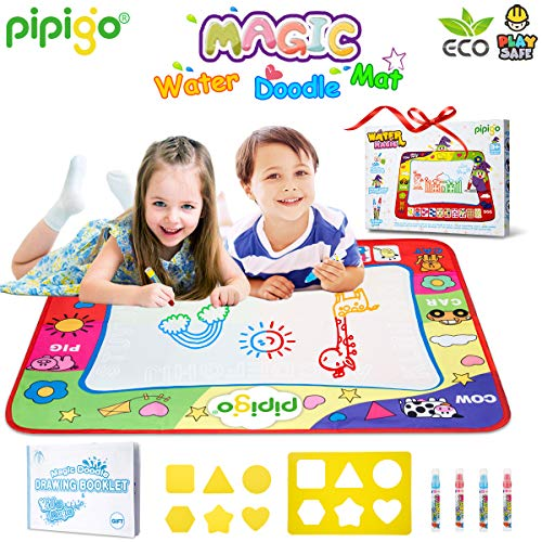 Magic Water Doodle Mats Drawing Mat Large 32x24in Painting Pad With 4 Pens 6 Molds 1 Booklet Learning Educational Toddler Toys Toddler Gifts for Girls Boys Age 2 3 4 5+ Year old Girl Gifts Boy Gifts