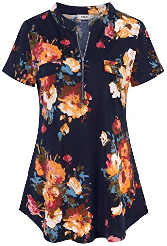 BEPEI V Neck Shirts for Women,Short Sleeve Romantic Top Floral Print Multi-Color Bright Dress Blouse Indian Slim Cinched Waist Tunic Teenage Lounging Wear Street Style Garment Navy Blue Yellow M