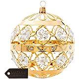 24K Gold Plated Crystal Studded Christmas Ball Ornament by Matashi