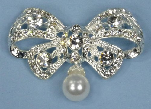 Enchanting Brooch Pin of Rhinestone-Encrusted Bowtie Adorned with Single Large Dangling Pearl for Wedding, Prom, Quinceañera or Other Special Events #D4E3wcs - Dangling Bow