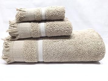 Juego de Toallas FLECOS Algodon 100% de 450 gr. 3 piezas (con sabana de baño) (Beige): Amazon.es: Hogar