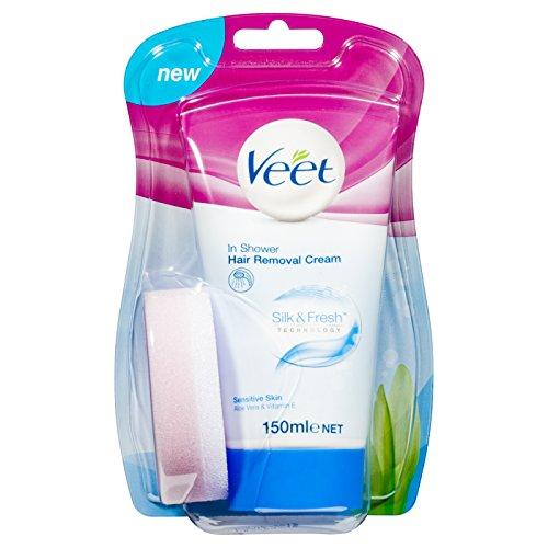 Veet In Shower Hair Removal Cream Sensitive Skin with Aloe Vera & Vitamin E (150ml)