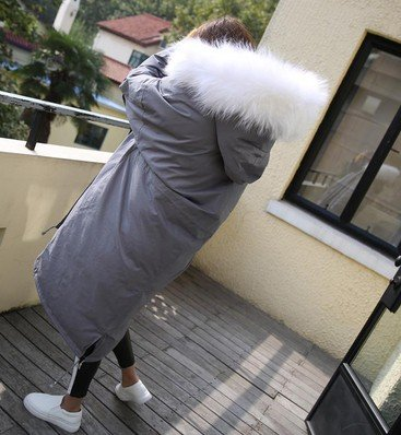 Warm Light Oversized Sweater Cotton Jacket gray white Women Hair hair Collar Knee Thickening Long Hooded Cotton Feathers Winter Jacket Down Xuanku TAPwqxS1