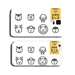 Animal face icons set. Vector illustration. cell phone cover case Samsung S5