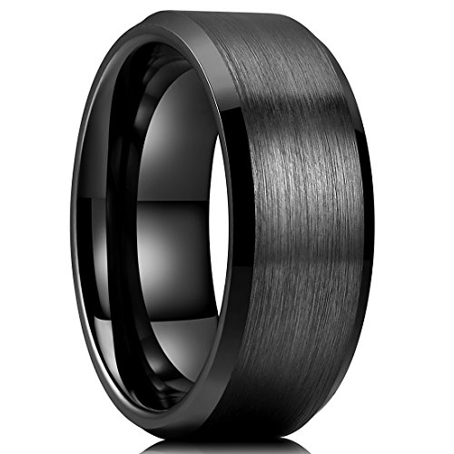King Will BASIC Men's 8mm Black Ceramic Rings Brushed Matte Comfort Fit Beveled Polished Edge Wedding Band (11.5)