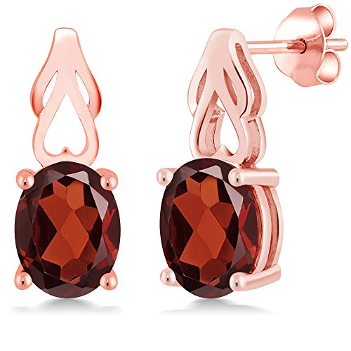 (3.60 Ct Oval Red Garnet 18K Rose Gold Plated Silver Earrings)