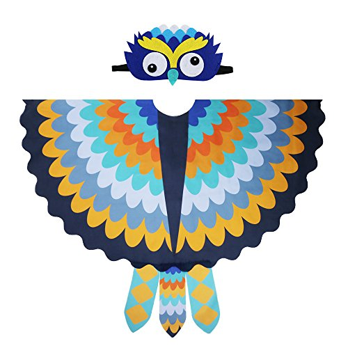 Kids Cozy Owl Bird Wings Costume Feathered with Headdress - Toddlers Animal Dress-up Cosplay Cape (#5 Yellow-Blue) for $<!--$14.90-->