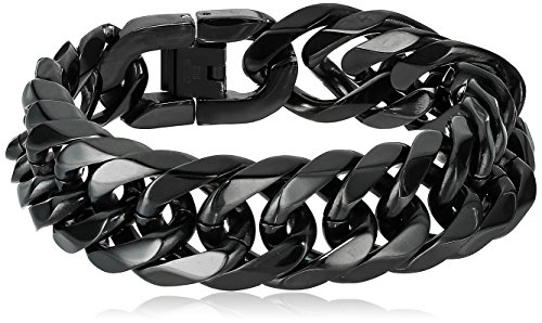 Crucible Jewelry Mens Black Plated Stainless Steel Beveled Cuban Curb Chain Bracelet (19mm), 8.75-Inch (Beveled Bracelet Curb Chain)