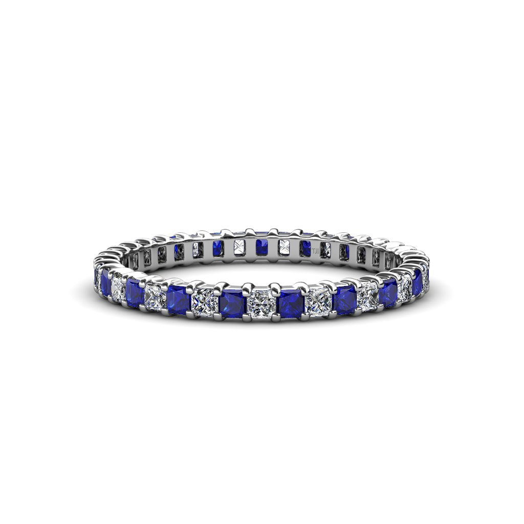 Blue Sapphire and Diamond 2mm Eternity Band 1.47 ct tw to 1.73 ct tw in 14K White Gold.size 6.0