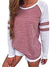 Clearance Baseball Clothing for Women ? Fashion Ladies Long Sleeve Splice Color Blouse Patchwork Tops