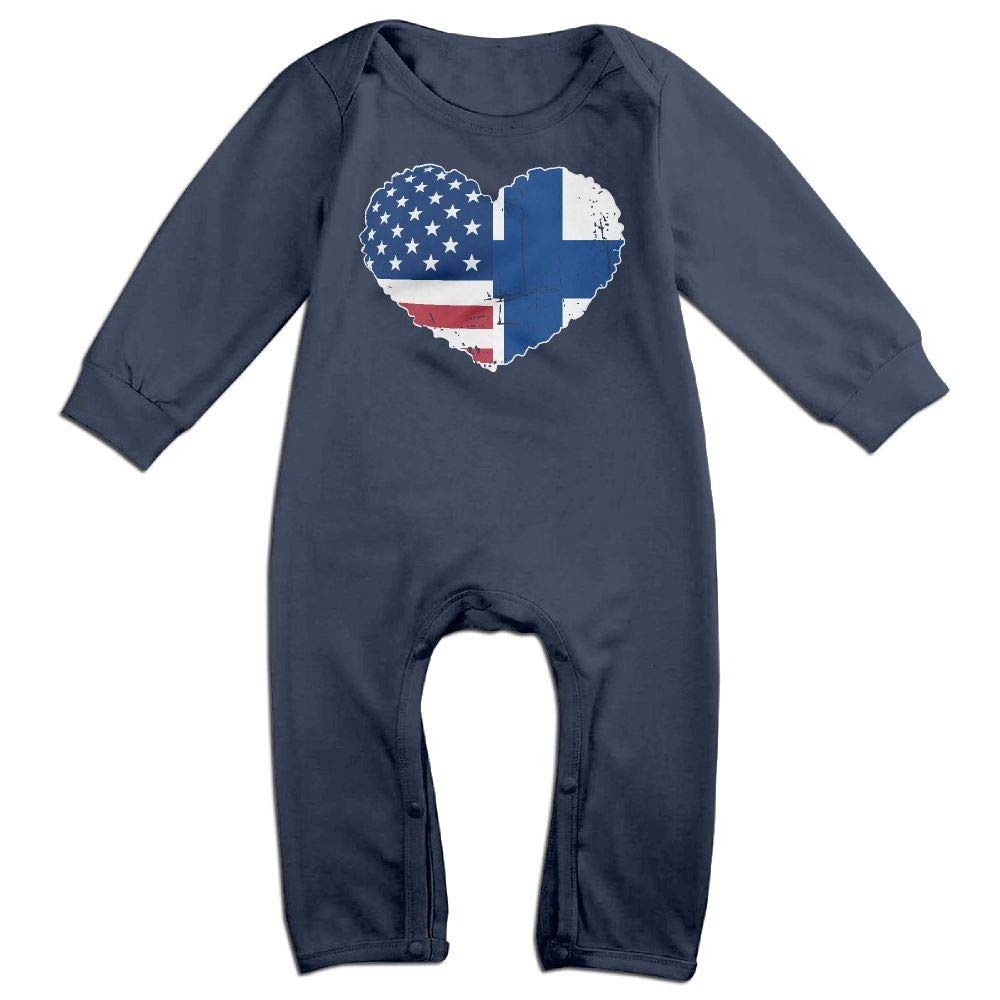 Mri-le1 Newborn Baby Coverall Finland USA Flag Heart Baby Clothes