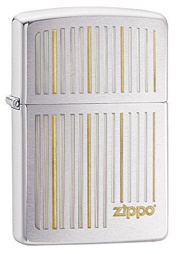 Zippo Vertical Lines Design Pocket Lighter, Brushed Chrome (Design Brushed Chrome)