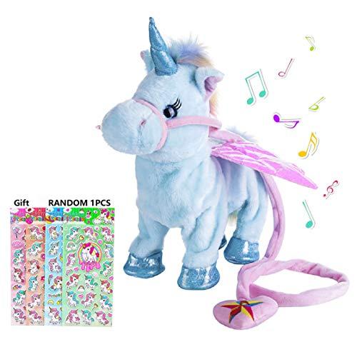 Suerico Cute Plush Pony Toys Electronic Unicorn Toy Singing Walking Musical Unicorn Soft Toys for Baby Girl Boy Kids (Blue)