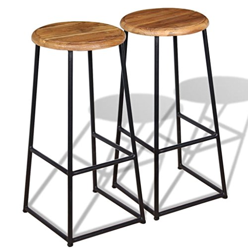 Dining Room Teak Bar Stool - Festnight Set of 2 Bar Stools Round Backless Industrial Barstool with Footrest Solid Teak Seat with Iron Legs Pub Chair Kitchen Dining Room Cafe Bistro Furniture 13.8