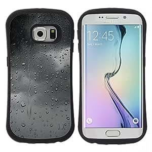 "Hypernova Slim Fit Dual Barniz Protector Caso Case Funda Para Samsung Galaxy S6 EDGE [Gris Gris Nubes humor Ventana Otoño""]"